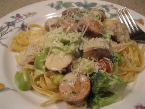 chicken sausage linguine - feat