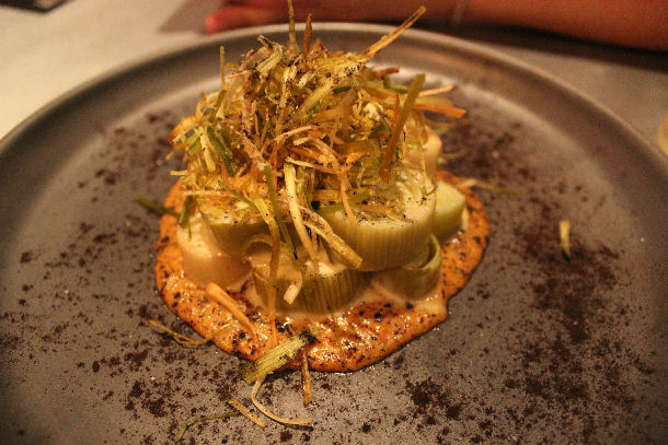 CHILLED CHARRED-STEAMED LEEKS