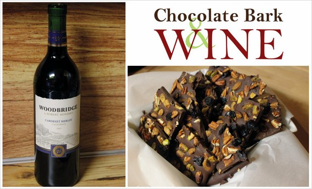 1 chocolate bark & wine